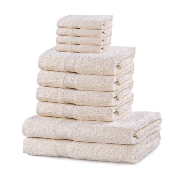 Set 8 světle krémových ručníků a 2 osušek DecoKing Marina Ecru