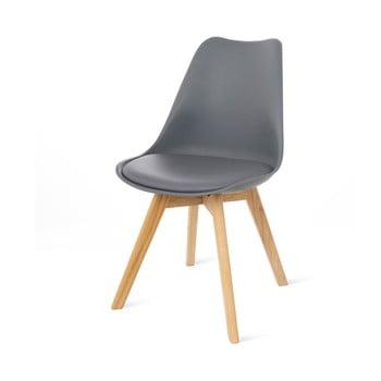 Scaun cu picioare din lemn de fag loomi.design Retro, gri