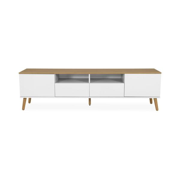 Biała szafka pod TV z detalami w dekorze drewna dębowego Tenzo Dot, szer. 192 cm