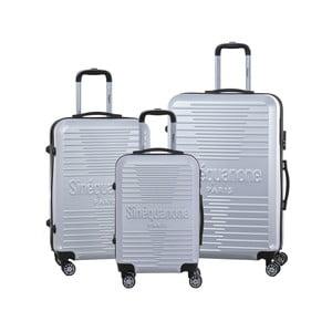 Sada 3 šedých cestovních kufrů na kolečkách se zámkem SINEQUANONE
