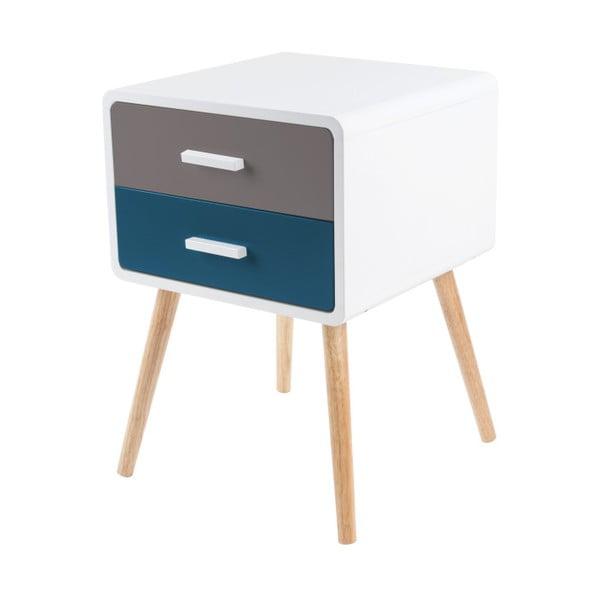 Modro-šedý stolek se 2 zásuvkami Leitmotiv Neat