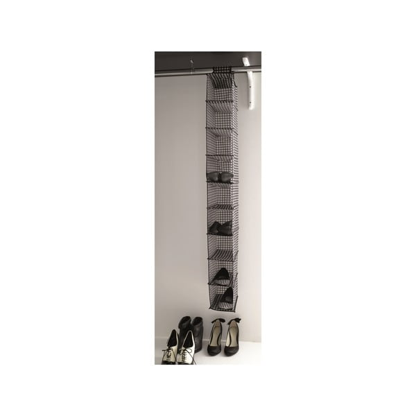 Šedý textilní závěsný botník do šatníku Compactor Rack, 9přihrádek