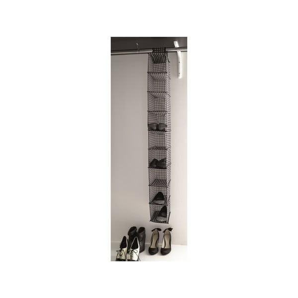 Pantofar textil suspendat pentru șifonier Compactor Rack, 9 compartimente, gri
