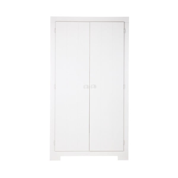 Bílá šatní skříň z borovicového dřeva Nikki WOOOD