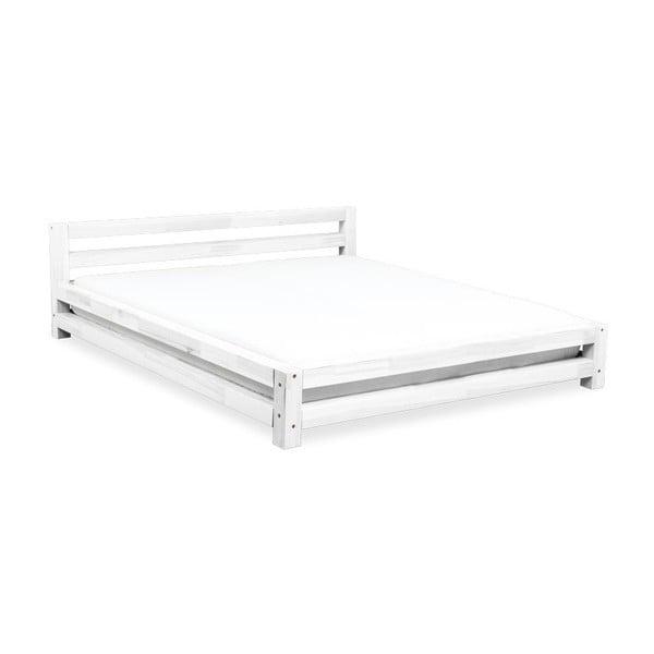 Bílá dvoulůžková postel z smrkového dřeva Benlemi Double,180x200cm