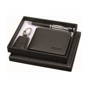 Set pera, klíčenky a černé koženkové peněženky Balmain Ballpoint