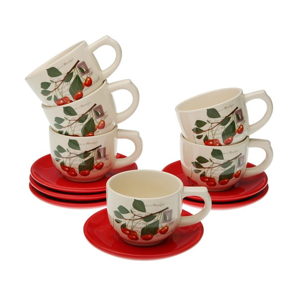 Set 6 cești pentru ceai cu farfurie și suport VERSA Cherry