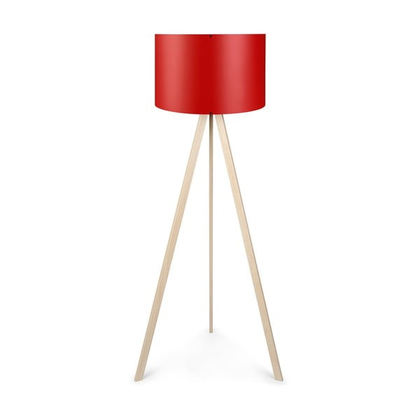 Wolno stojąca lampa z czerwonym abażurem Polly