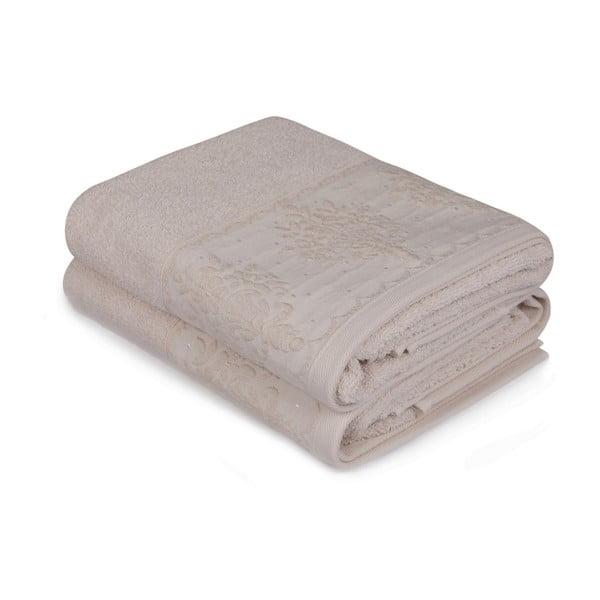 Sada dvou béžových ručníků Victorian, 90x50cm