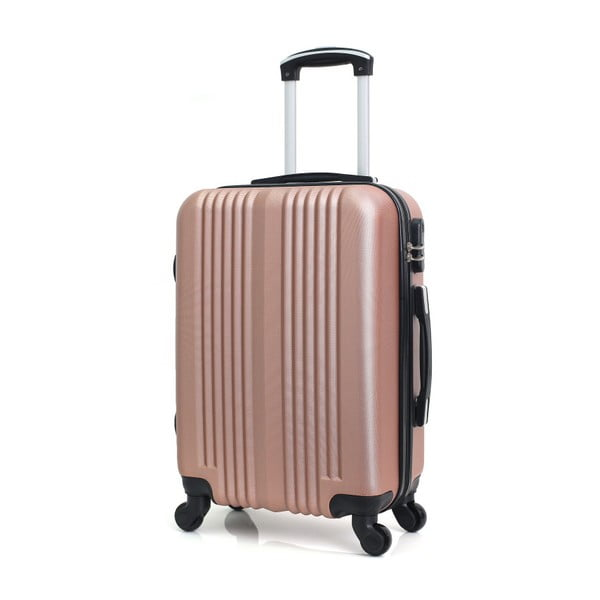 Cestovní kufr v barvě růžového zlata na kolečkách Hero Lipari, 37l