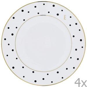 Sada 4  velkých talířů Elle Polka Dot Dinner