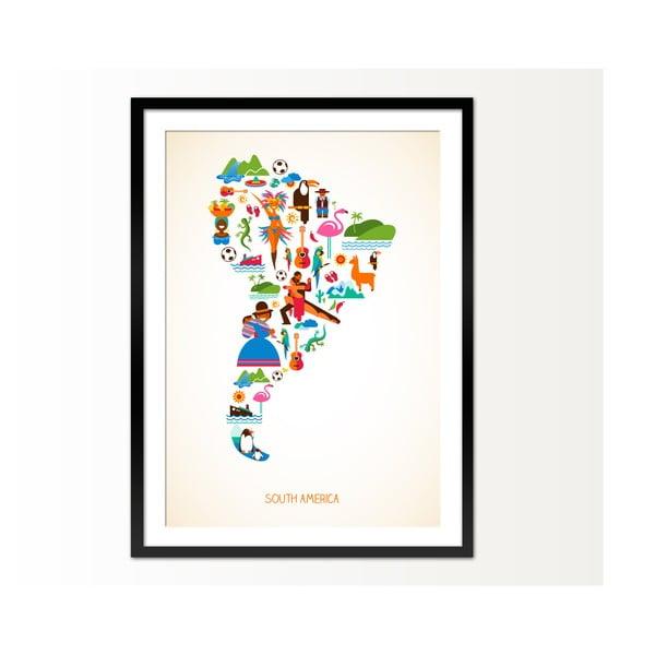 Zarámovaný obraz South America, 50x70 cm