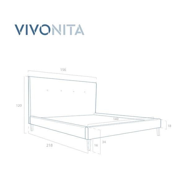 Tmavě morá postel Vivonita Kent Linen, 200x140cm