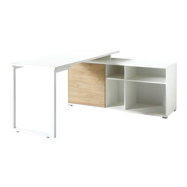 Białe biurko z dekorem drewna dębowego Germania Paseo