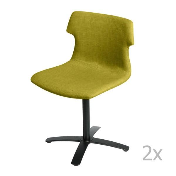 Sada 2 olivových čalouněných židlí D2 Techno One