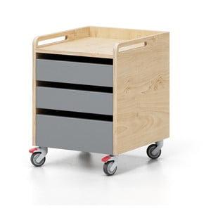 Dulăpior cu roți și sertare Devoto Moody, culoarea lemnului natural - gri