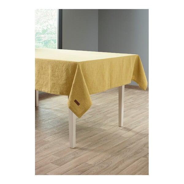 Okkersárga lenkeverék asztalterítő, 135 x 240 cm - Tiseco Home Studio