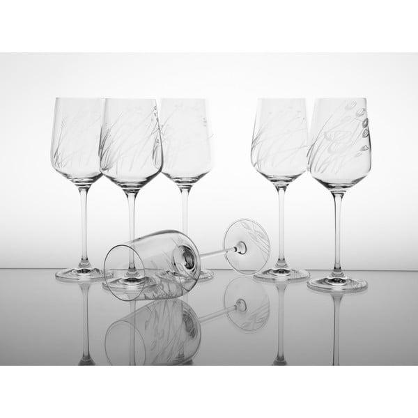 Ateliér Žampach, set 6 ks skleniček na bílé víno Traviny nahoru