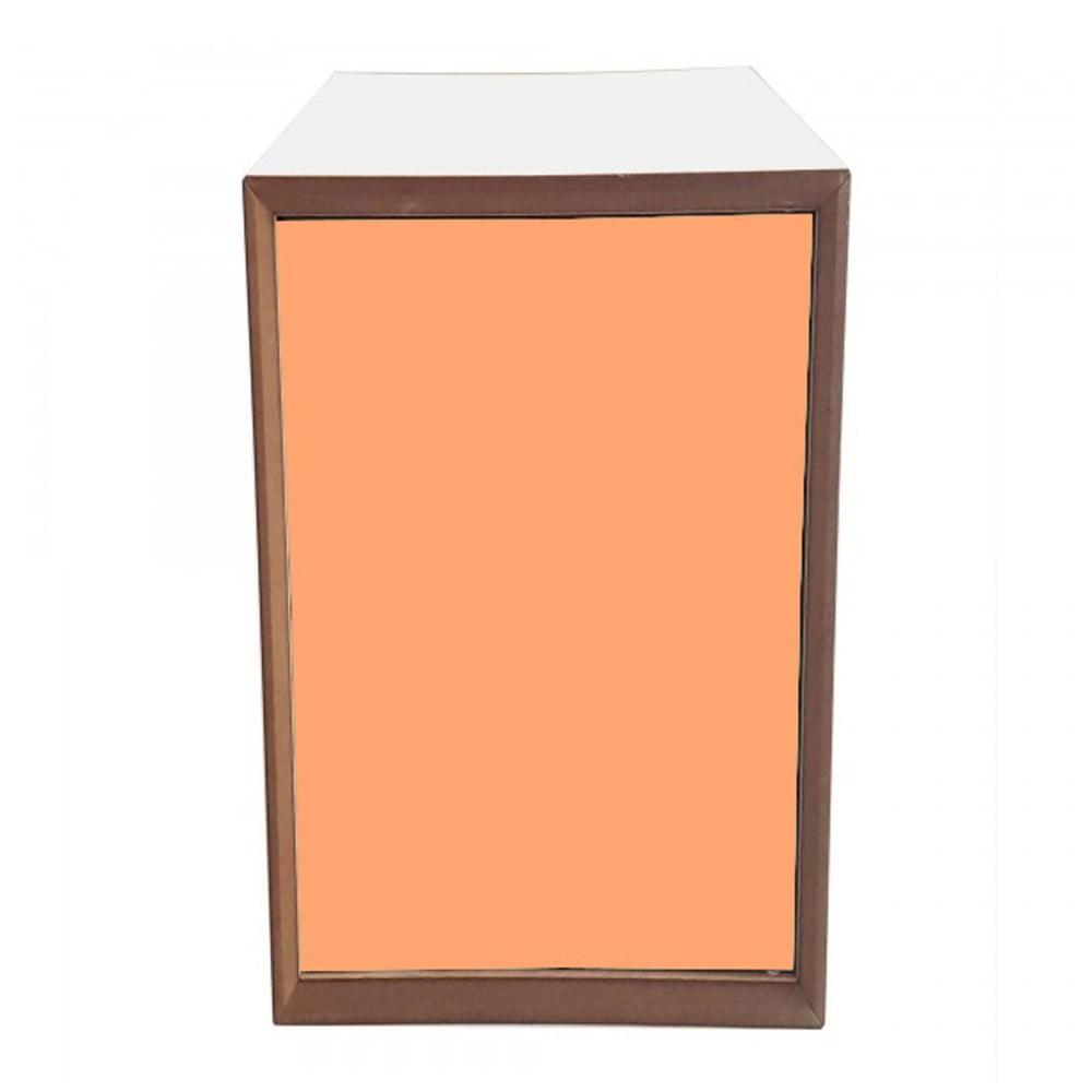 Policový díl s bílým rámem a oranžovými dvířky Ragaba PIXEL, 40 x 80 cm