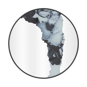 Nástěnné zrcadlo vdřevěném rámu InArt Metallic, ⌀50cm