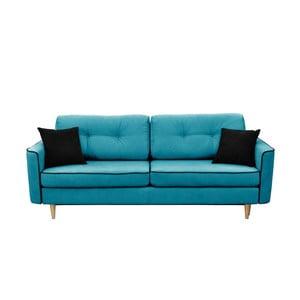 Canapea cu 3 locuri și picioare în nuanță deschisă Mazzini Sofas Ivy, turcoaz