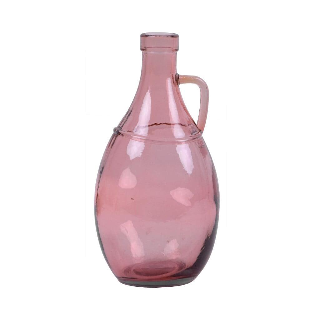 Růžová skleněná váza s uchem z recyklovaného skla Ego Dekor, 26 cm