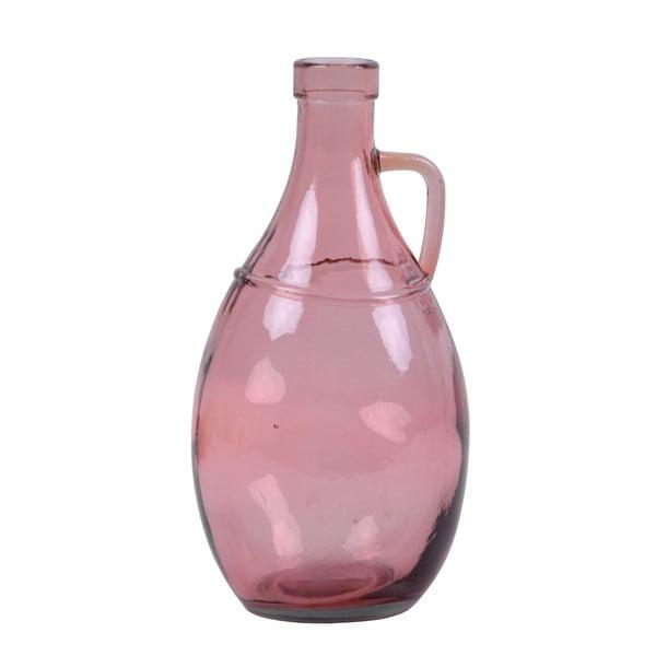 Różowy wazon ze szkła z recyklingu z uchem Ego Dekor, wys. 26 cm