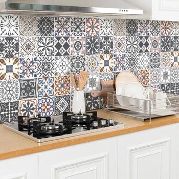 Set 24 autocolante de perete Ambiance Cement Tiles Flore, 10 x 10 cm de la Ambiance