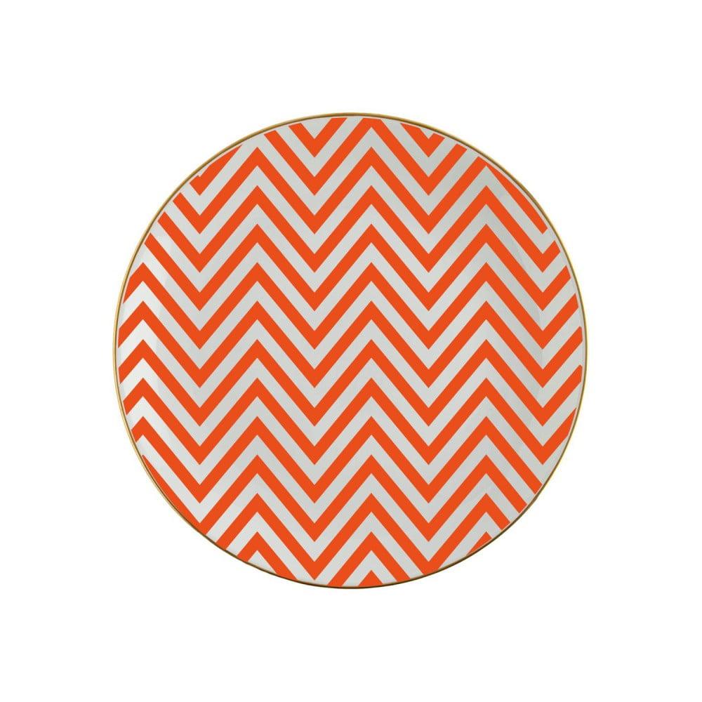 Oranžovobílý porcelánový talíř Vivas Zig Zag, Ø23cm
