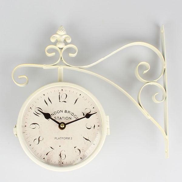 Kovové oboustranné hodiny Cross White