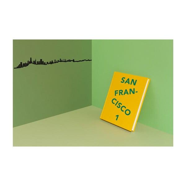 Černá nástěnná dekorace se siluetou města The Line San Francisco