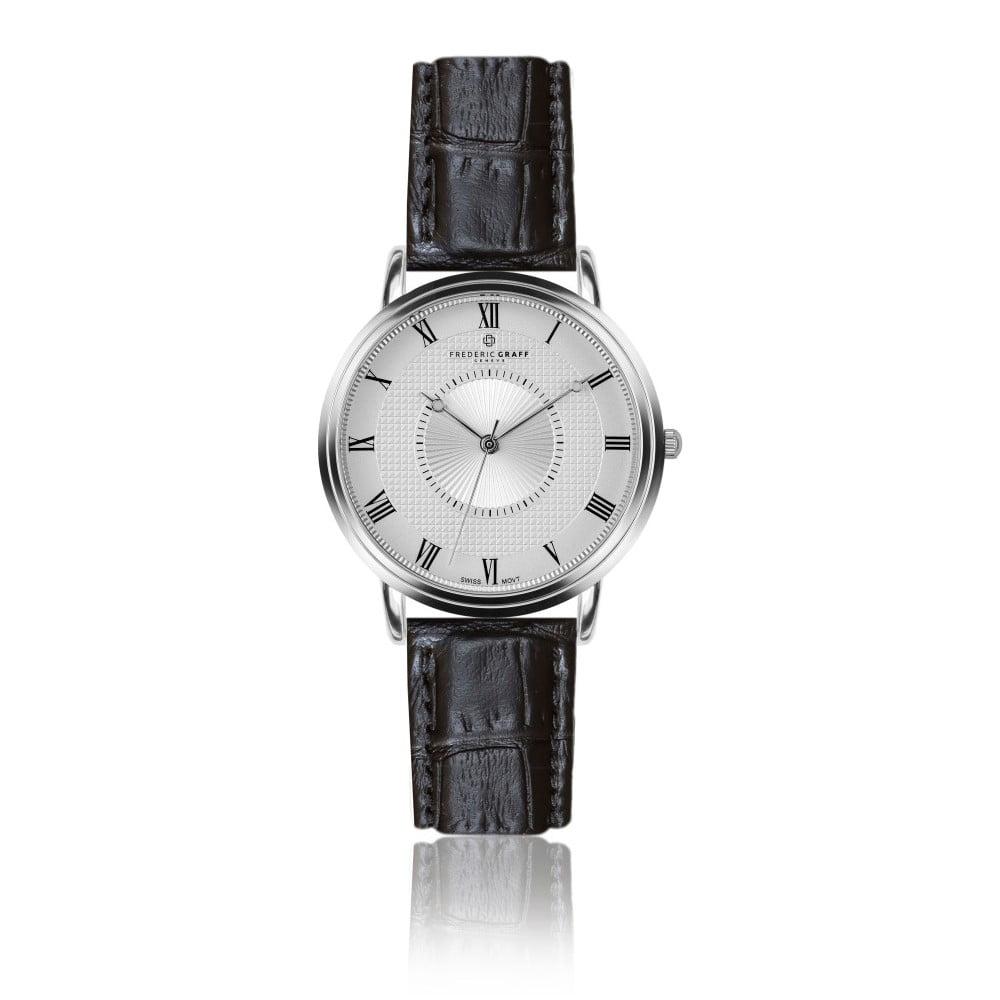 Pánské hodinky s černým páskem z pravé kůže Frederic Graff Croco