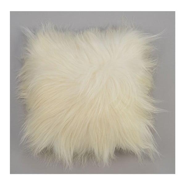 Oboustranný kožešinový polštář s dlouhým chlupem White, 50x50 cm