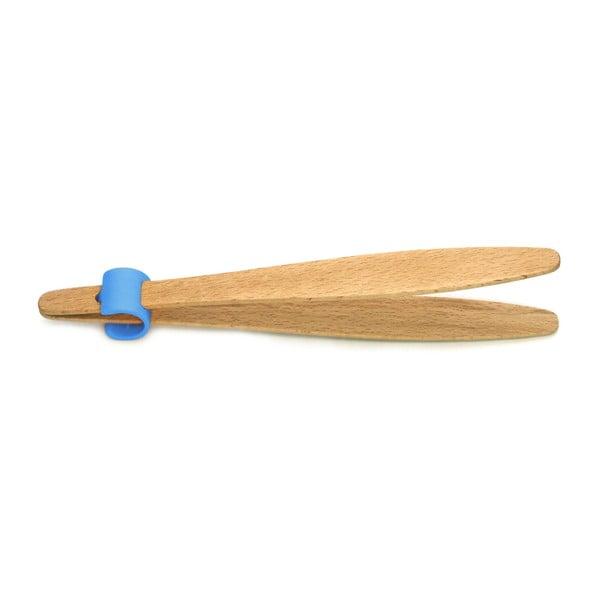 Kleště na okurky s modrým detailem z bukového dřeva Jean Dubost Handy, délka 22 cm
