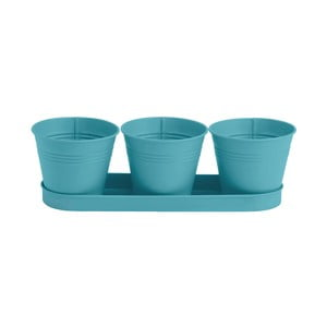 Sada 3 modrých květináčů s táckem Butlers Zinc