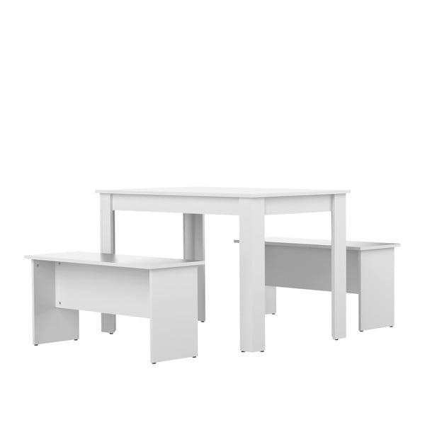Nice fehér étkezőasztal, 2 paddal - Symbiosis