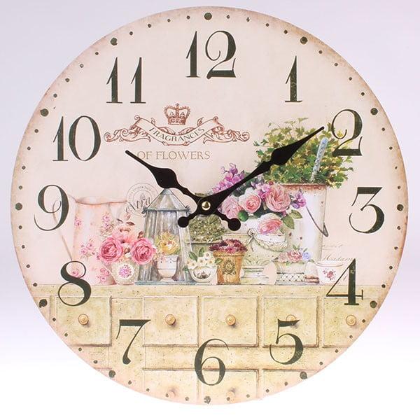 Dřevěné hodiny Fragnaces of Flowers