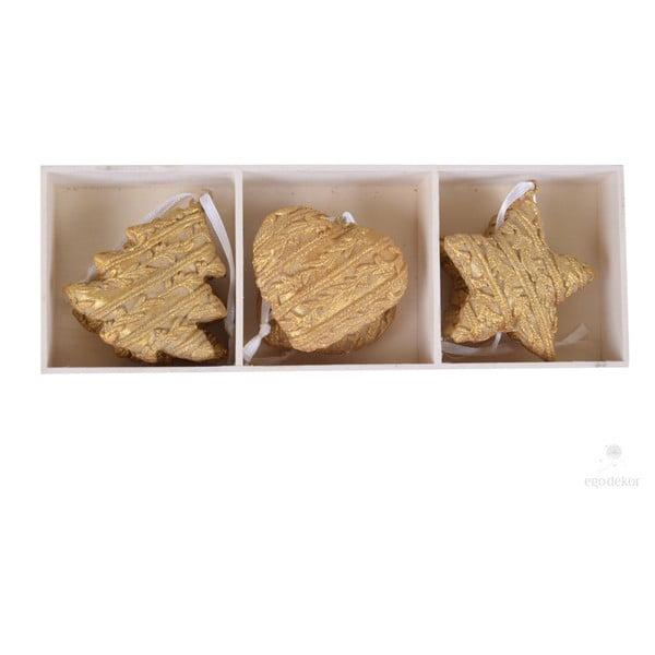 Zestaw 6 dekoracji wiszących w złotej barwie Ego Dekor Glamour
