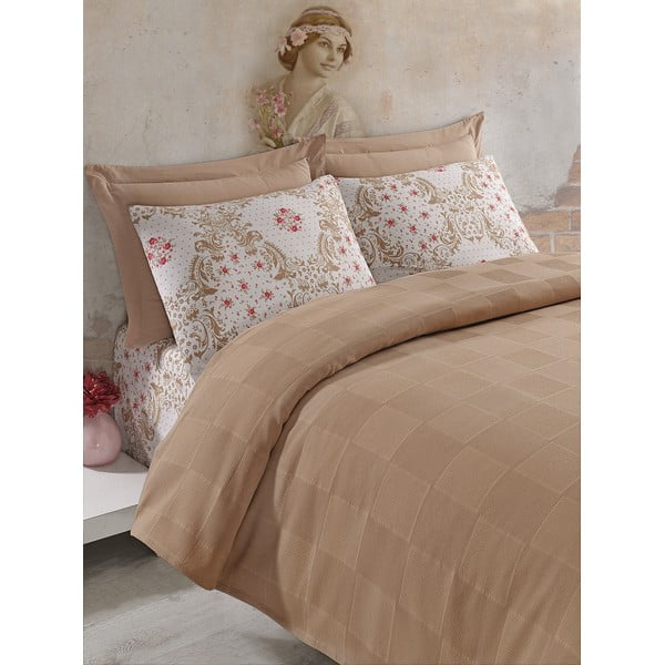 Sada přehozu přes postel, prostěradla a povlaku Fashion Brown, 200x235 cm