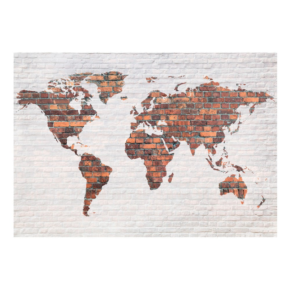 Velkoformátová tapeta Bimago Brick World Map Wall 400 x 280 cm