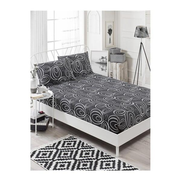 Garriso Gris szürke gumis lepedő egyszemélyes ágyra 2 párnahuzattal, 160 x 200 cm