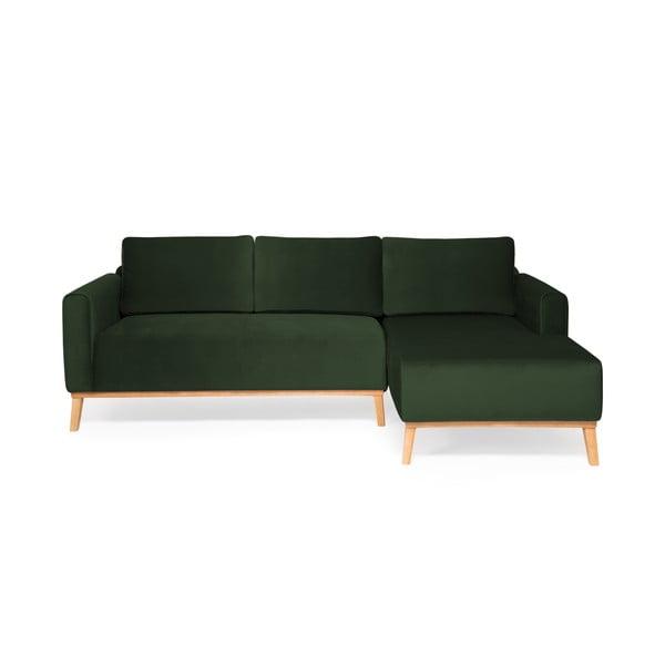 Tmavozelená trojmiestna sedačka pravý roh Vivonita Milton Trend