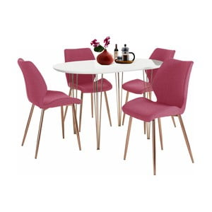 Set bílého jídelního stolu a 4 červených jídelních židlí Støraa Emil and Annie