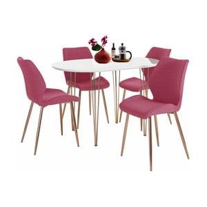 Set masă și 4 scaune Støraa Emil and Annie, alb - roșu