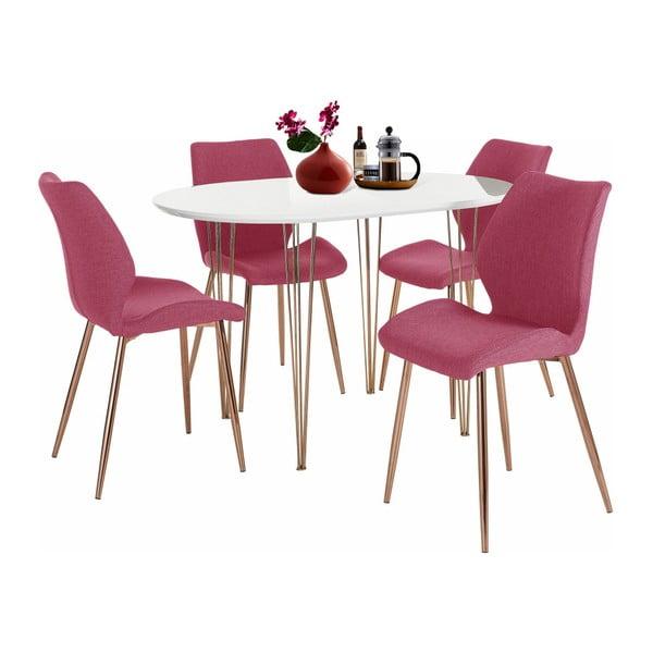 Komplet białego stołu do jadalni i 4 czerwonych krzeseł do jadalni Støraa Emil and Annie