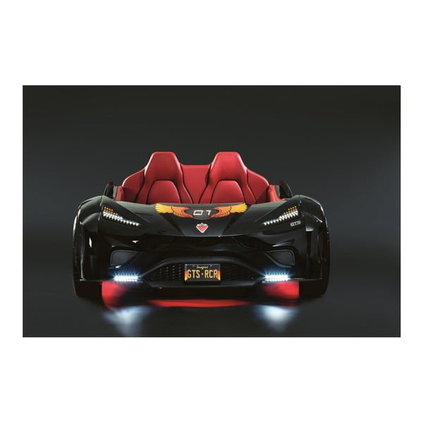 Černá dětská postel ve tvaru auta s červeným osvětlením Fast GTS Carbed Black