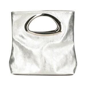 Kožená kabelka ve stříbrné barvě Chicca Borse Lumino