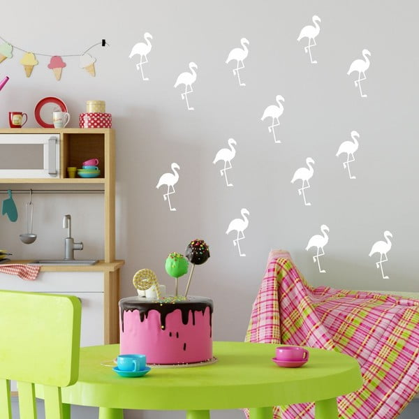 Sada bílých samolepek na zeď North Carolina Scandinavian Home Decors Flamingo