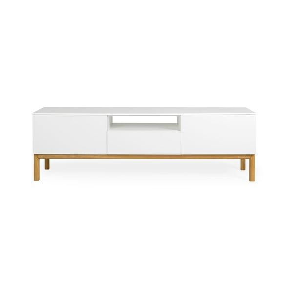 Bílý TV stolek s detaily s nohami z dubového dřeva Tenzo Patch, šířka 179 cm