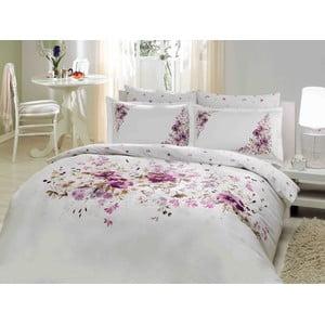 Povlečení Purple Little Flowers s prostěradlem, 200x220 cm